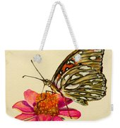 Passion Butterfly On Zinnia Weekender Tote Bag