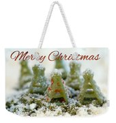Pasta Christmas Trees With Text Weekender Tote Bag