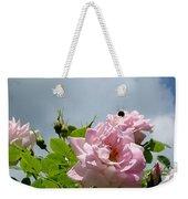 Pastel Pink Roses With Bee Weekender Tote Bag