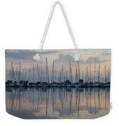 Pastel Sailboats Reflections At Dusk Weekender Tote Bag
