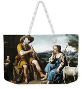 Pastoral Scene With A Shepherd Family Against A Countryside Background Weekender Tote Bag