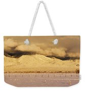 Pasture Land Covered In Snow At Sunset Weekender Tote Bag