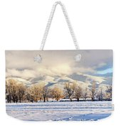 Pasture Land Covered In Snow With Taos Weekender Tote Bag