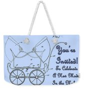 Patent Art Robinson Baby Carriage Invite-blue Weekender Tote Bag