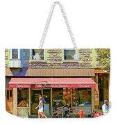 Patisserie Les Saveurs Du Plateau Pique Nique Et Emporter Montreal Cafe Scene Art By Carole Spandau  Weekender Tote Bag