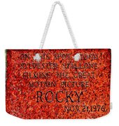 Pats Steaks - Rocky Plaque Weekender Tote Bag by Benjamin Yeager