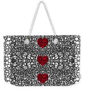 Pattern 34 - Heart Art - Black And White Exquisite Patterns By Sharon Cummings Weekender Tote Bag by Sharon Cummings