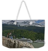 Pause In Wonder At Cruise Ships In Alaska Weekender Tote Bag