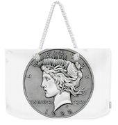 Graphite Peace Dollar Weekender Tote Bag