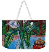 Peace Lilies On The Patio Weekender Tote Bag