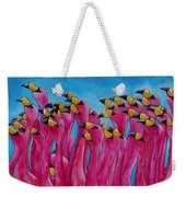 Peace Love And Flamingos Weekender Tote Bag by Patti Schermerhorn