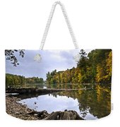 Peaceful Autumn Lake Weekender Tote Bag by Christina Rollo