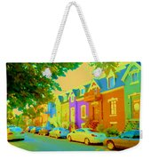 Peaceful Painted Pastel Rowhouses Printemps Plateau Montreal Scene Du Rue Carole Spandau Weekender Tote Bag