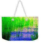Peaceful Stream  Quebec Landscape Art Tall Grasses At The Lakeshore Waterscene Carole Spandau Weekender Tote Bag