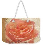 Peach Rose Birthday Card Weekender Tote Bag