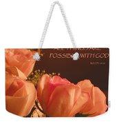 Peach Roses With Scripture Weekender Tote Bag