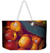 Peaches And Citrus With Blue Wooden Basket Weekender Tote Bag