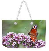 Peacock Butterfly  Inachis Io  On Buddleia Weekender Tote Bag