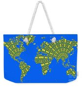 Peacock Feather World Map Weekender Tote Bag