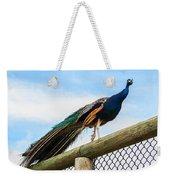 Peacock On Fence 1 Weekender Tote Bag