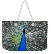 Peacock Up Close Weekender Tote Bag