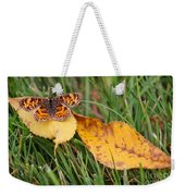 Pearl Crescent Butterfly On Yellow Leaf Weekender Tote Bag
