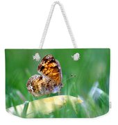 Pearl Crescent Butterfly Square Grass Weekender Tote Bag