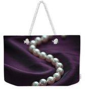 Pearl Necklace On Purple Silk Weekender Tote Bag