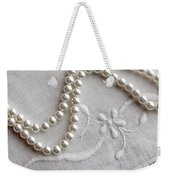 Pearls And Old Linen Weekender Tote Bag by Barbara Griffin