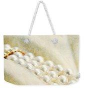 Pearls On White Velvet Weekender Tote Bag