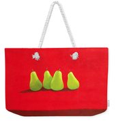 Pears On Red Cloth Weekender Tote Bag