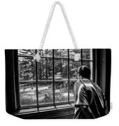 Peering Out The Window Bw Weekender Tote Bag