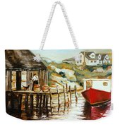 Peggy's Cove Nova Scotia Fishing Village With Red Boat Weekender Tote Bag