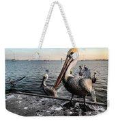 Pelican At The Pier Weekender Tote Bag