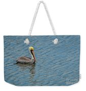 Pelican Drifting On Rippled Water Weekender Tote Bag