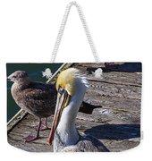 Pelican On Dock Weekender Tote Bag