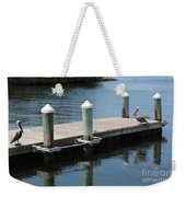 Pelicans On Dock In Florida Weekender Tote Bag