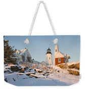 Pemaquid Point Lighthouse Winter In Maine  Weekender Tote Bag by Keith Webber Jr