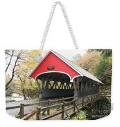 Pemigewasset River Covered Bridge In Fall Weekender Tote Bag