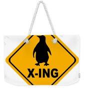 Penguin Crossing Sign Weekender Tote Bag