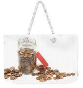 Pennies And Jar On White Background Weekender Tote Bag