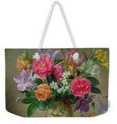 Peonies And Irises In A Ceramic Vase Weekender Tote Bag