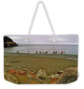 People Lined Up To Catch Capelin On The Shore Of Middle Cove-nl Weekender Tote Bag