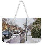 People On Bicycles In Winter Weekender Tote Bag