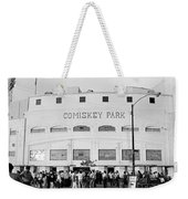 People Outside A Baseball Park, Old Weekender Tote Bag