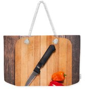 Peppers And Knife On Cutting Board Weekender Tote Bag