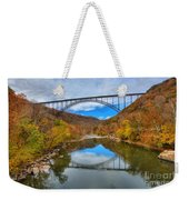 Perfect Reflections Of The New River Gorge Bridge Weekender Tote Bag