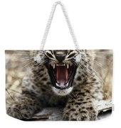 Persian Leopard Cub Snarling Weekender Tote Bag