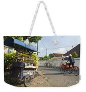 Petrol Stall And Cyclo Taxi In Solo City Indonesia Weekender Tote Bag