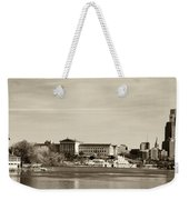 Philadelphia Art Museum With Cityscape In Sepia Weekender Tote Bag